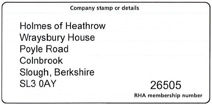 Holmes of Heathrow Road Haulage Association membership